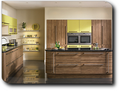 Satin olive wood and lime finished kitchen